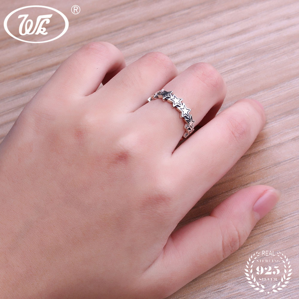 WK 925 Sterling Silver Simple Star Stackable Rings For Women Girls ...