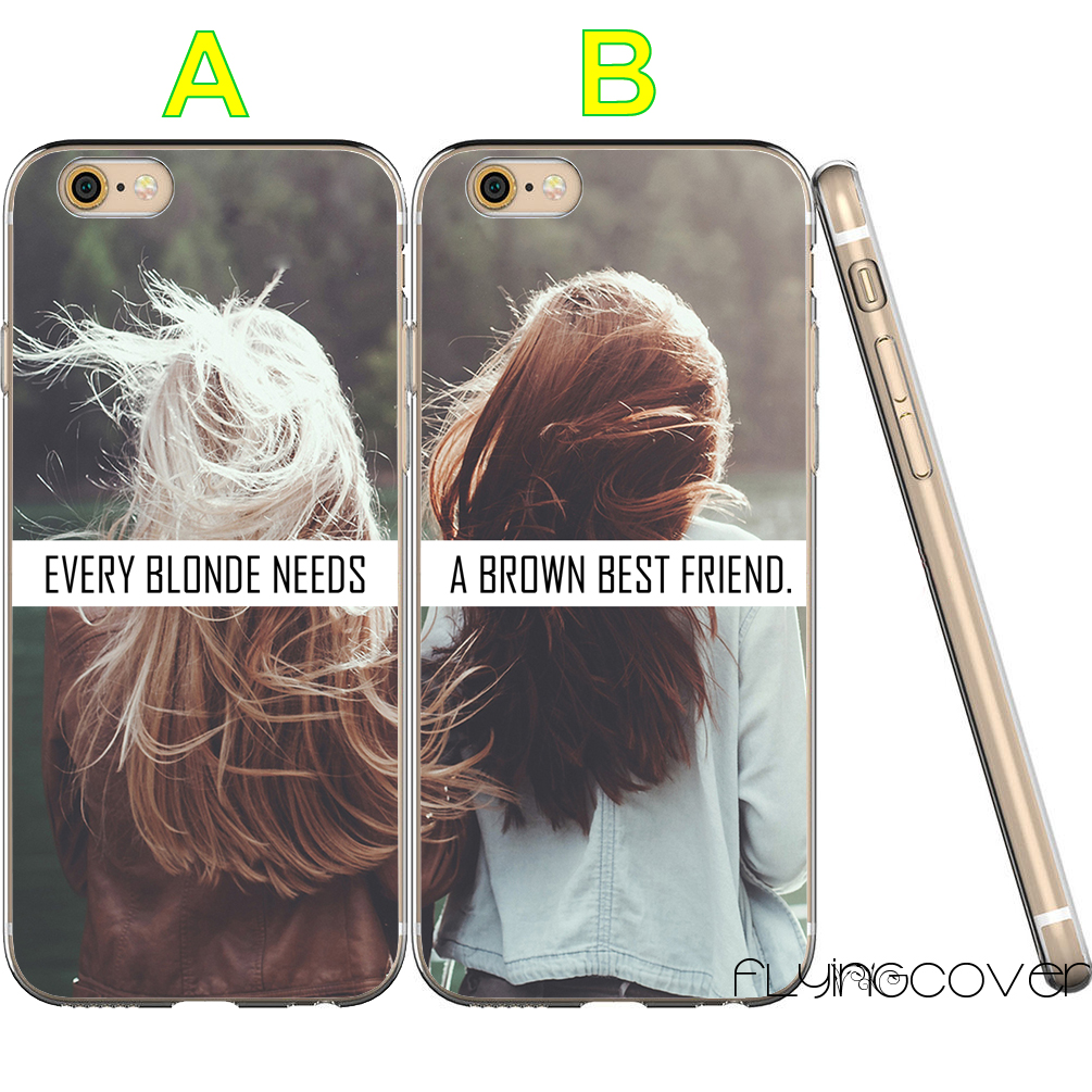 Coque Blonde Brown BFF Best Friend Clear Soft TPU Silicone Cover for iPhone X 7 8 Plus 5S 5 SE 6 6S 5C 4S 4 iPod Touch 6 5 Cases