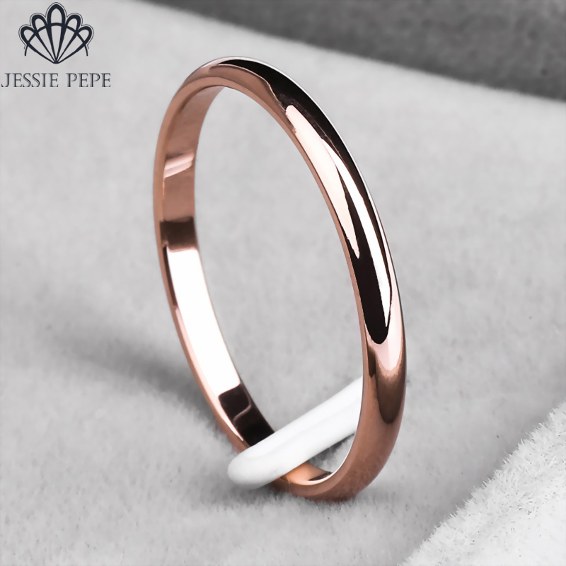 Jessiepepe Titanium Simple Wedding Rings for Man or Woman Christmas Gift # TR0002