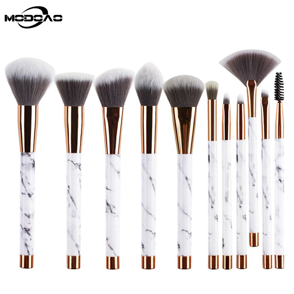 MODOAO Professional Marble Foundation Powder Brush Make Up Tools Cosmetic Makeup Brushes Soft Big Fans Makeup Brush Set free shipping durable 32pcs soft makeup brushes professional cosmetic make up brush set