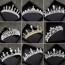 Wedding Crystal Crown and Tiara Bride Hair Accessories Head Pieces Silver Nupcial Diadem Jewelry M30