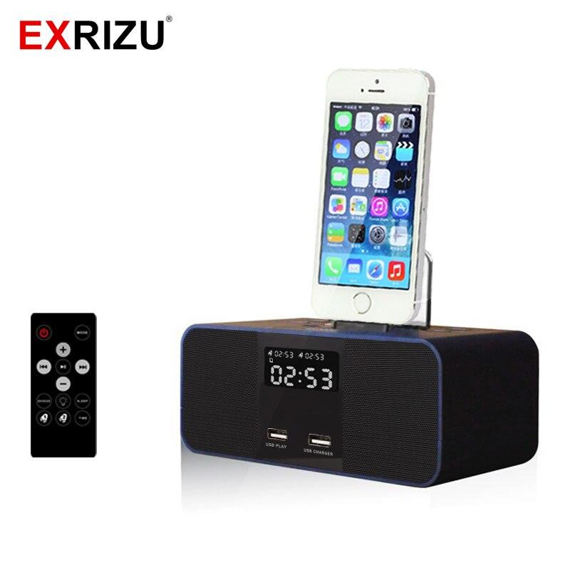 S6 Sans Fil Bluetooth Haut-Parleur NFC Radio Réveil Portable Audio Musique 8 broches Chargeur Dock Station pour iPhone 8 7 5S 6 6 S Plus
