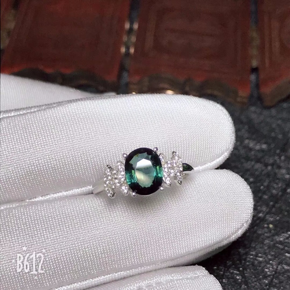 Uloveido 20 Off Natural green tourmaline ring 925 silver Wedding Ring Jewelry 7 9mm Gemstone with