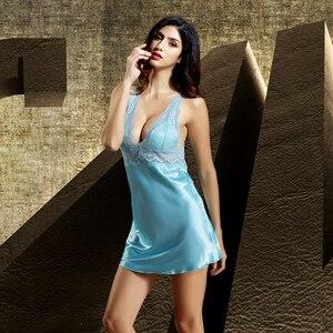Image 5 - Xifenni 로브 세트 여성 가짜 실크 잠옷 여성 레이스 실크 가운 딥 v 넥 슬리핑 드레스 섹시한 가정 의류 6621