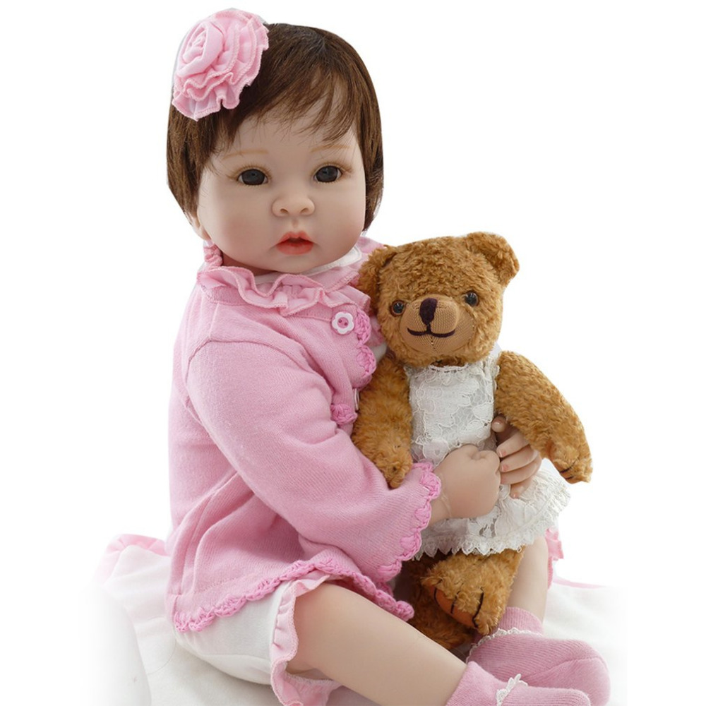 все цены на NPKCOLLECTION 55cm Reborn Baby Doll Soft silicone Realistic Reborn Babies Girls Adorable Bebe Kids Brinquedos boneca Toys Doll онлайн