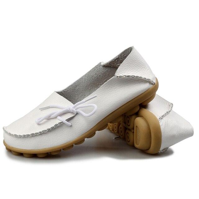 New Arrive Flats Women Four Seasons 2016 Casual Shoes Women Flat Heel Cow Muscle Outsole Fashion Flat Women GenuineLeather Shoes