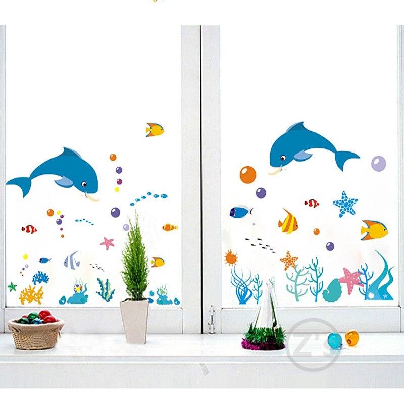 Zs Sticker dolphin fish mundo marino vinilos decorativos ocean fish - Decoración del hogar - foto 5