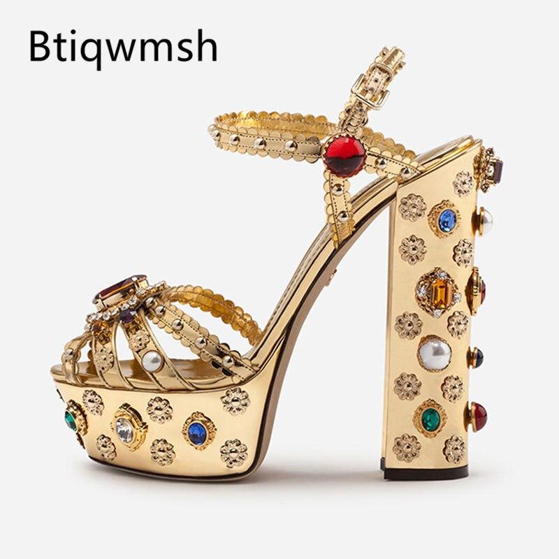 2019 neueste Gold Leder Plattform Sandalen Frauen Peep Toe Rot Diamant Strass Jeweled Hohe Ferse Schuhe Frau Gladiator Sandalen-in Hohe Absätze aus Schuhe bei  Gruppe 1