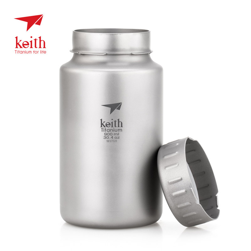 Keith 900ml/1.2L Titanium Water Bottle Outdoor Sports Large Capacity Wide-mouth Flask with Lid Cycling Drinking Flask Pot Ti3035 keith ti5338 ultralight titanium bowl with large capacity 900ml