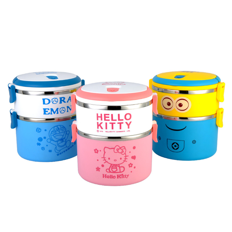buy cartoon 3 layer lunch box for kids thermos food container bento box. Black Bedroom Furniture Sets. Home Design Ideas