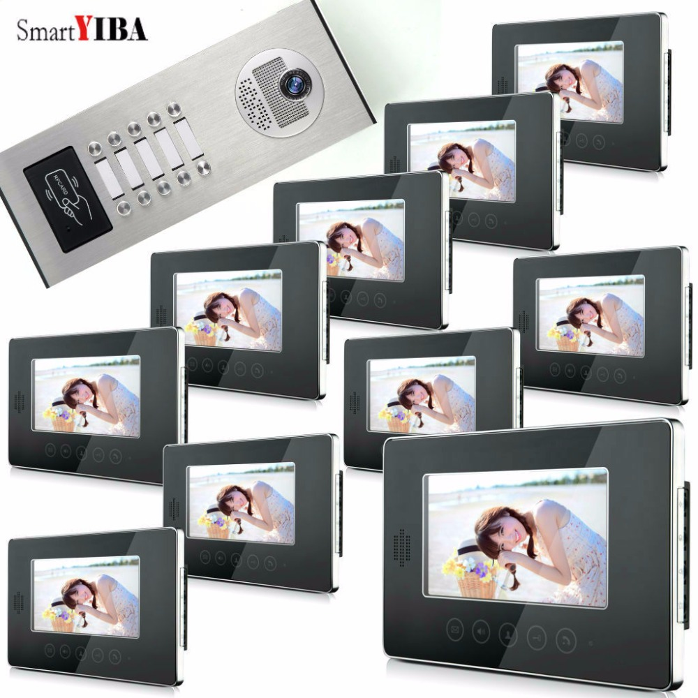 SmartYIBA Home Security 7Inch Monitor Video Intercom Door Phone System Outdoor RFID Access Doorbell Camera For 10 Apartment