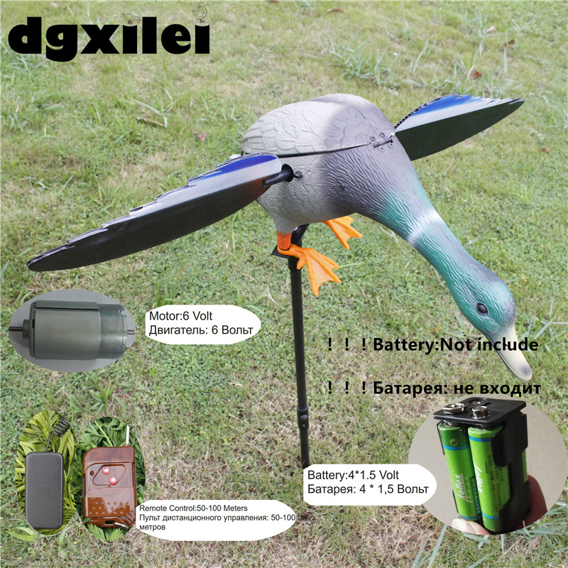 Factory Directly Sell Dc 6V Remote Control Green Head Mallard Duck Hunting Device With Spinning Wings From Xilei wholesale 6v 12v duck motor decoy remote control green head mallard hunting decoys with spinning wings from xilei