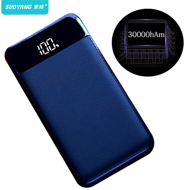 30000mah Power Bank External Battery PoverBank 2 USB LED Powerbank Portable Mobile phone Charger for Xiaomi iphone XS max 8 8plu