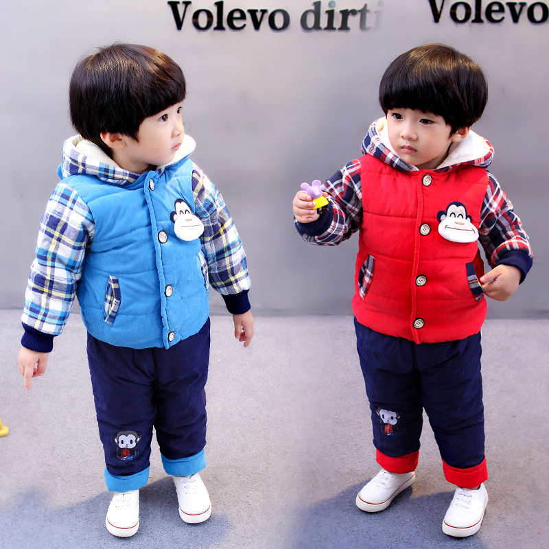 New 2016 baby boy plaid cartoon cotton-padded thicken warm clothing sets toddler kids clothes sets winter infant baby clothes 1 5y boys high quality fashion gentlemen cartoon plaid patchwork clothing sets 3pcs kids clothes sets boy handsome coat set boy