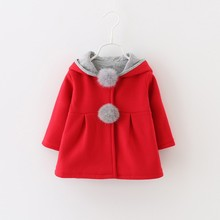 Qianquhui Baby Girl Winter Clothes Baby Coat Hooded Jacket Long Sleeve Fur Ball Girls Jacket Autumn Girls Clothing