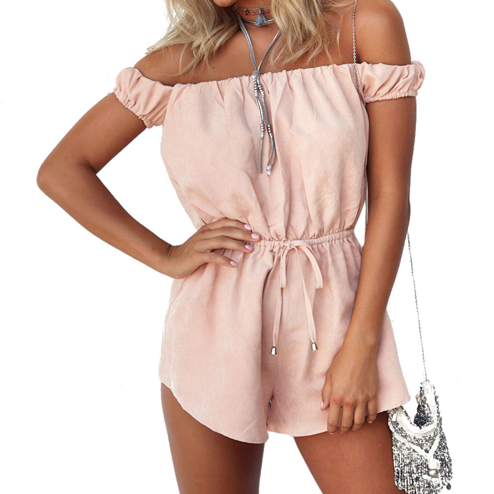 Summer Beach Off Shoulder Sexy Rompers Womens Jumpsuit Elegant Pink Bodysuit Fashion Playsuits Shorts Overalls plus