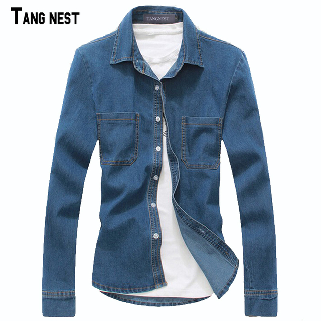 Tangnest 2017 nuevos hombres de la llegada de la moda de primavera denim jeans de manga larga slim fit solid hombre camisas del ocio mcl627