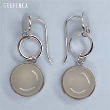 GEEZENCA 925 Sterling Silver Round Gemstone Drop Earrings for Women Fine Jewelry Gift Korean Trendy Fashion Dangle Earring Party(China)