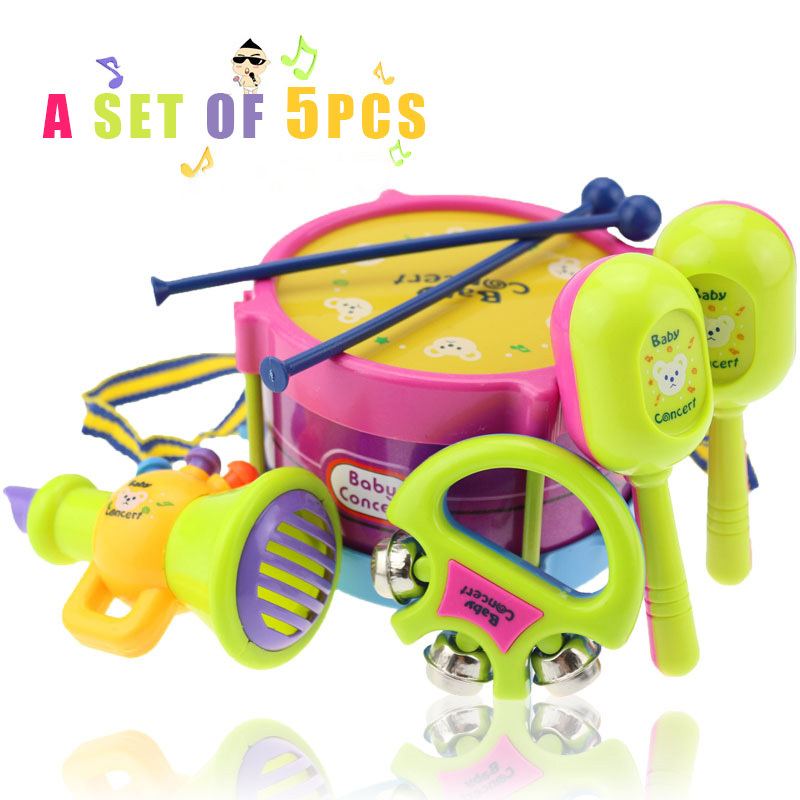 0-3 Years old baby toys 5pcs hand drum beat rattles educational kids toys children rattle for newborn baby