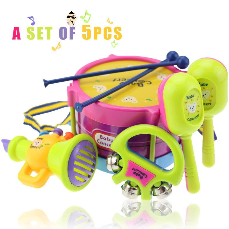 0-3 años de edad, juguetes para bebés 5 unids tambor de la mano batir sonajeros educativos niños juguetes niños sonajero para el bebé recién nacido