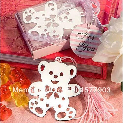 Cute Bluepink Tassel Stainless Steel Bear Bookmark Wedding Favors