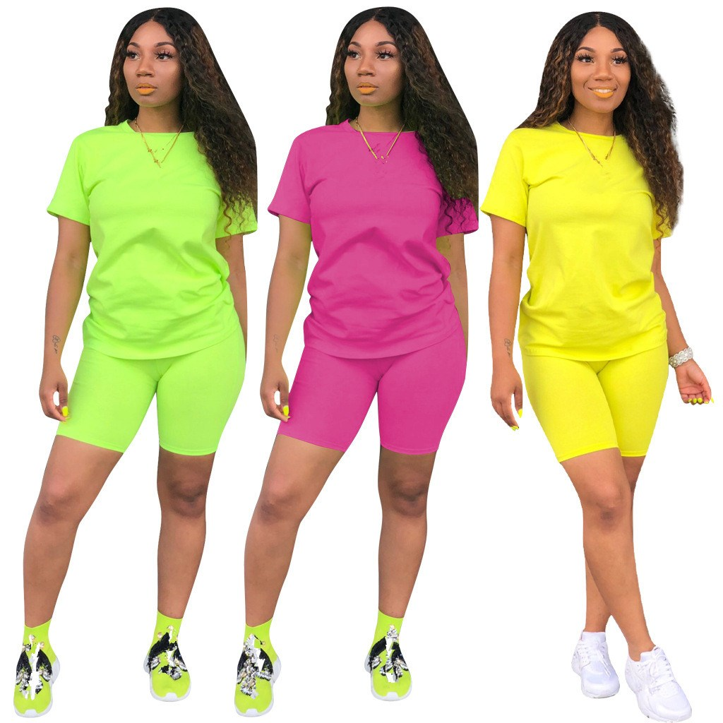 2019 Summer Women Short Sleeve Two Piece Sets Sexy O-Neck Crop Top And Biker Shorts Solid Tracksuit