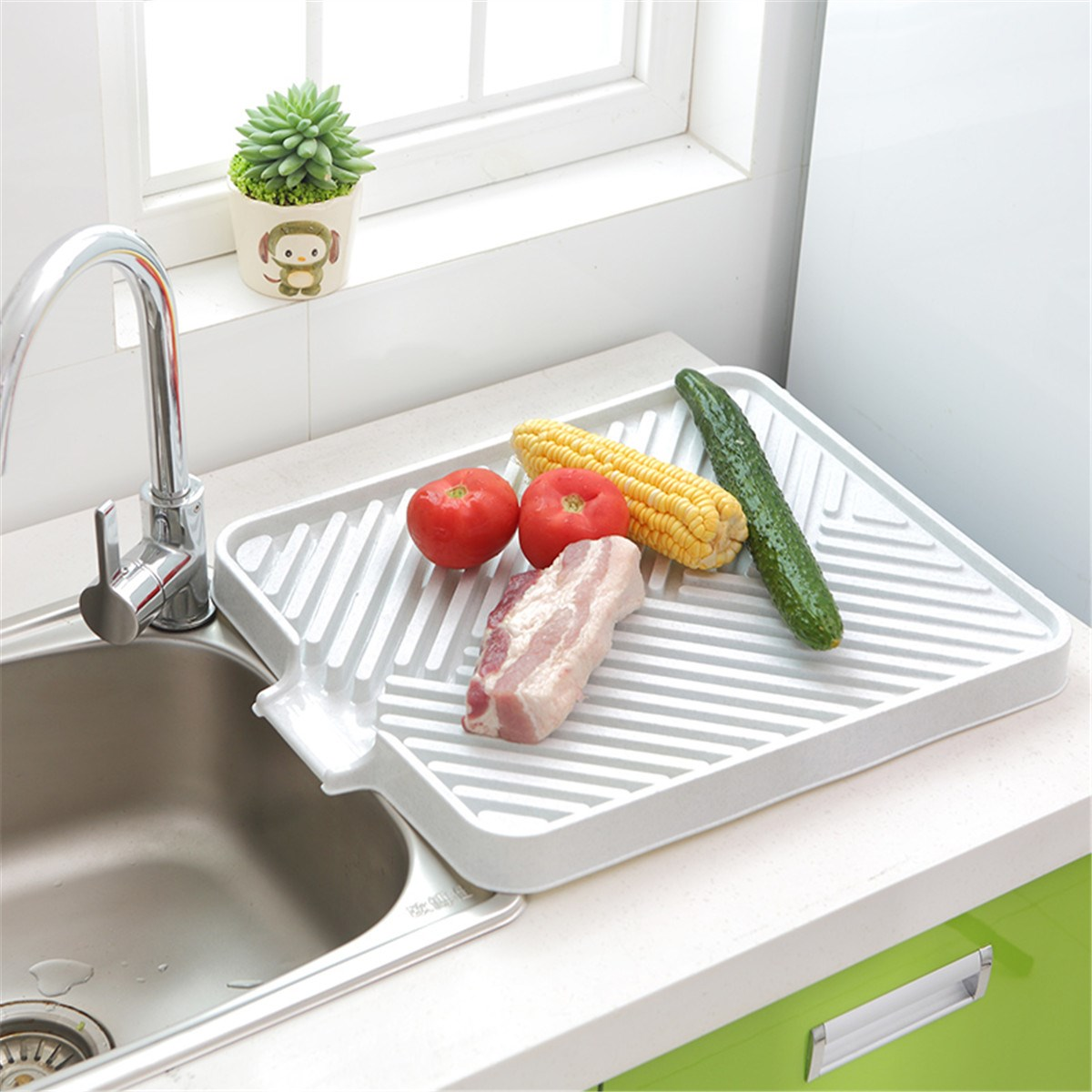 Plastic Kitchen Drainer Tray Holder Dish Plate Sink Draining Board ...
