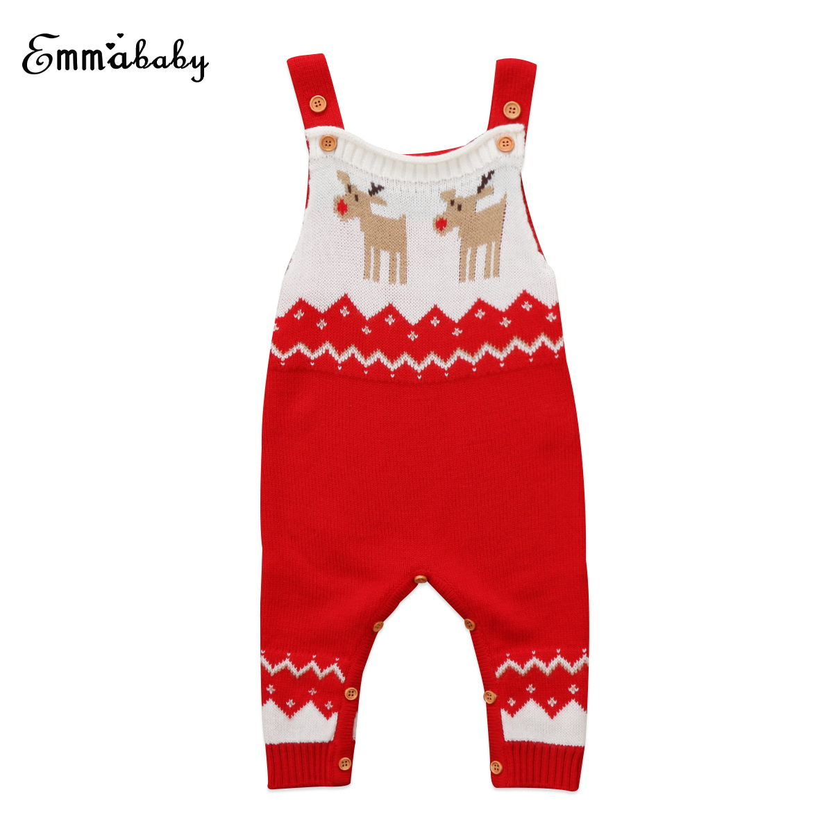 2018 new winter kid Christmas rompers Newborn Baby boy Girl Xmas Deer sleeveless Knitted Romper cute babies Outfits Clothes