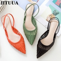 HTUUA 2019 Fashion PU Leather Hollow Pointed Toe Sandals Women Summer Shoes Woman Flat Heel Mules Slippers Sandalias SX2521
