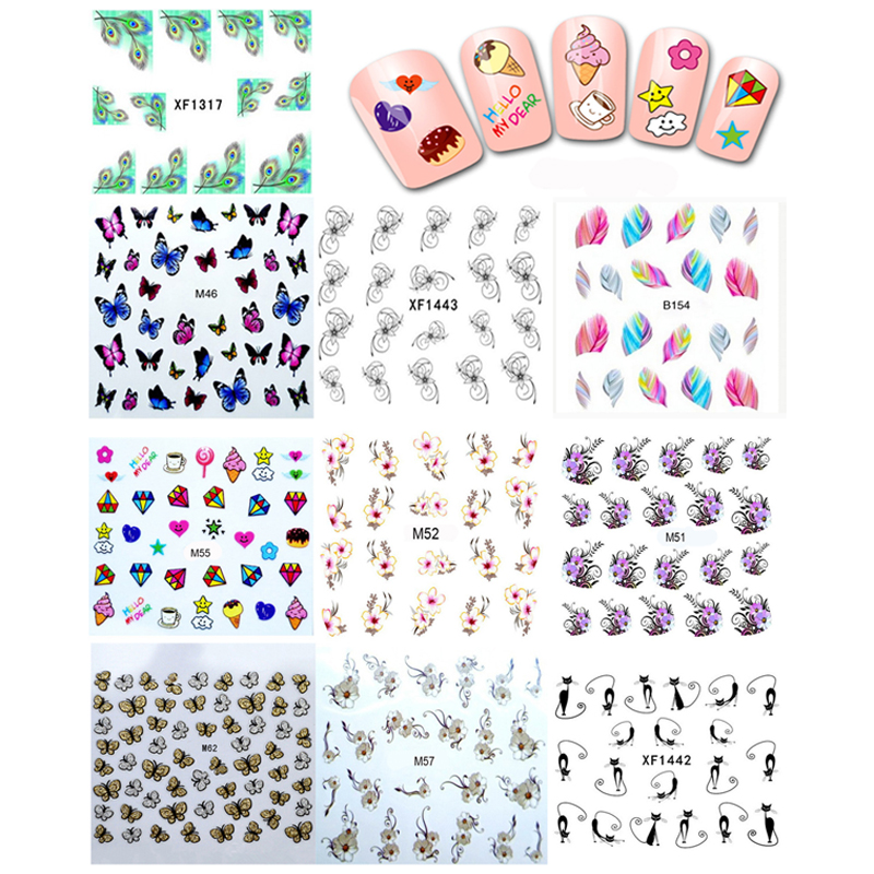 10pcs Nail Decals Nail Art Water Transfer Stickers On The Nails Stickers For French Manicure Nail Art Decorations Tools nail salon 48 design flower water transfer stickers diy nail art decorations manicure wraps foil decals nail tools saa049 096