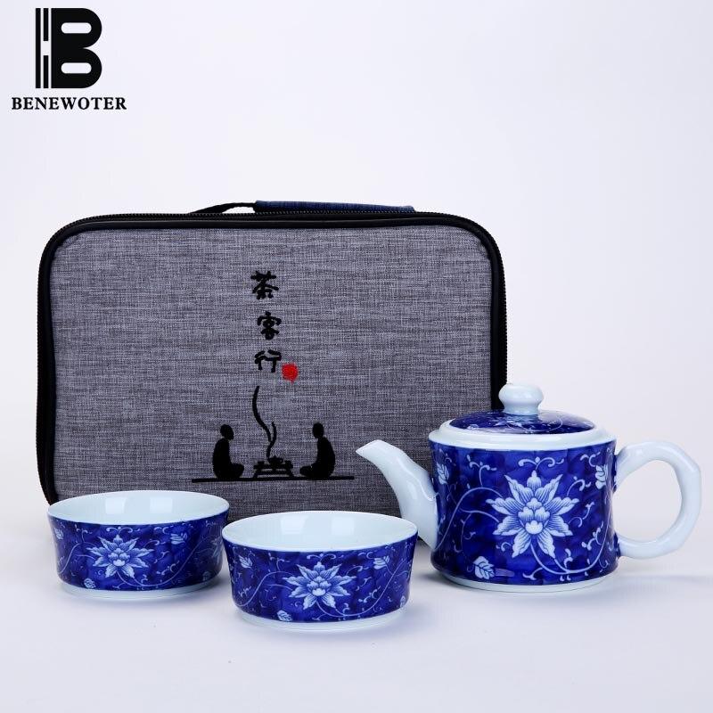 ( 1 Teapot + 2 Cups ) Quick Cup 220ml Jingdezhen Vintage Blue and White Porcelain Plum Coffee Tea Pot Drinkware Teapot with Bag