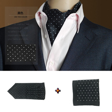 GUSLESON Fashion Brand Men Handkerchief Cravat Silk Paisley Pattern Gentlemen Dots Tie Wedding Ascot Bowtie Tuxedo