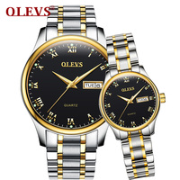 OLEVS Simple Lovers Couple Watches Top Brand Gold Color Dial Women Men Waterproof Wristwatch Romantic Clock