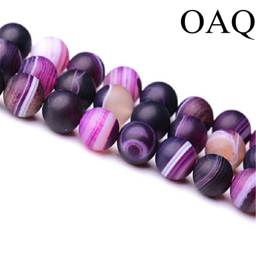 Wholesale 6-10mm Natural Purple dull polish Stripe carnelian stone Onyx Gem Round Loose Beads  fashion  beads jewelry making