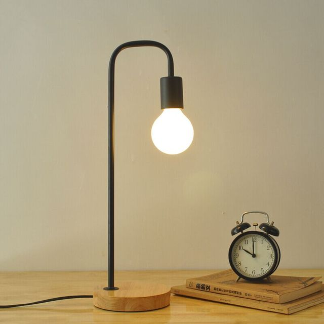 North European style retro minimalist modern industrial wood desk lamp  bedroom study desk lamp bedside lamp