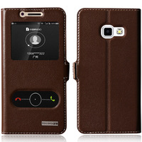 Cover Case For Samsung Galaxy A5 2017 A5200 A520F Top Natural Genuine Leather Magnetic Flip Stand
