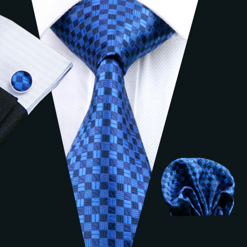 LS-561 Men`s Tie 100% Silk Blue Plaid Jacquard Woven Tie + Hanky + Cufflinks Sets For Men Wedding Business Party Free Postage