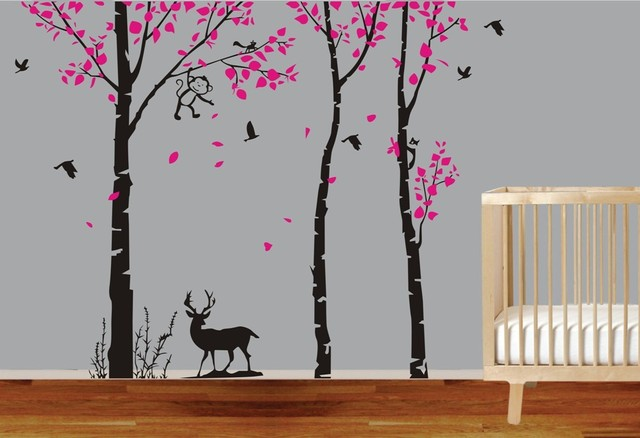 Lage Tree Branches Wall Stickers JUNGLE TREE MONKEY DEER BIRDS 1.8M ...