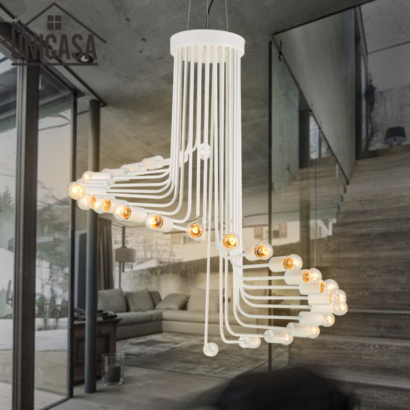 Modern Art White light Fixture Large Pendant Lights Vintage Industrial Lighting Bar Kitchen LED Wrought Iron Hotel Ceiling Lamp