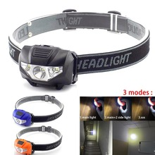 High power Mini LED headlamp frontal flashlight AAA battery small head light lamp torches headlight lantern for camping