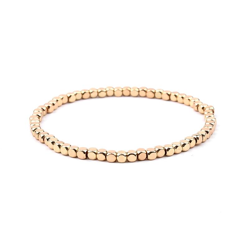 BOJIU многоцветные Кристальные браслеты для женщин золотые акриловые медные бусины розовый белый черный серый женский браслет с кристаллами BC226 - Окраска металла: 15-Gold