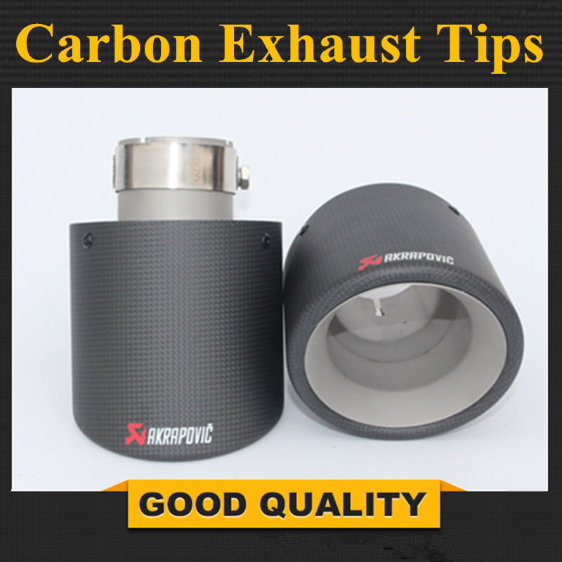2 X inlet 54mm outlet 114mm carbon fiber framed stainless steel 304 Akrapovic universal car exhaust end pipe tip in Matte Black2 X inlet 54mm outlet 114mm carbon fiber framed stainless steel 304 Akrapovic universal car exhaust end pipe tip in Matte Black