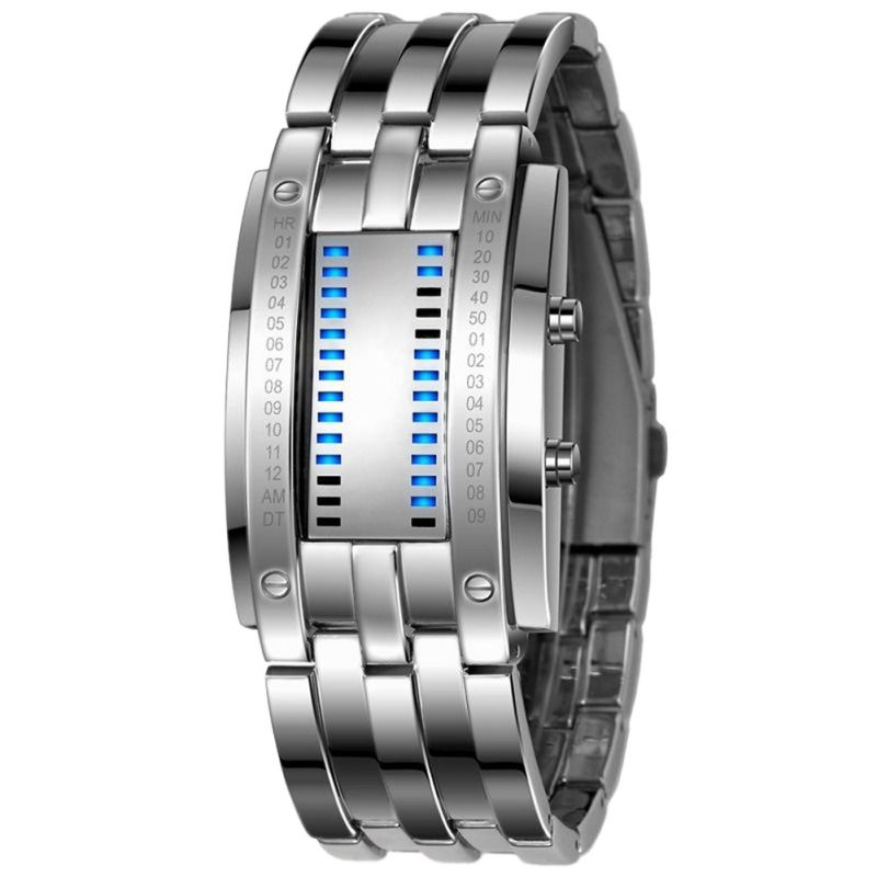 Watch Men Women Future Technology Binary Black Stainless Steel Date Digital LED Bracelet Sport Watches