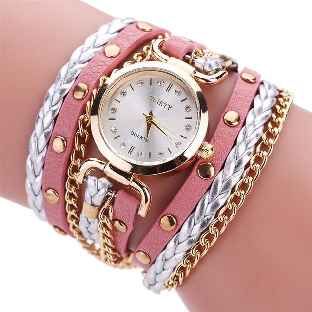 Womens Bracelet Watch Relojes Mujer 2018 Vintage Weave Wrap Quartz PU Leather Wrist Watches kol saati Clock Relogio Feminino