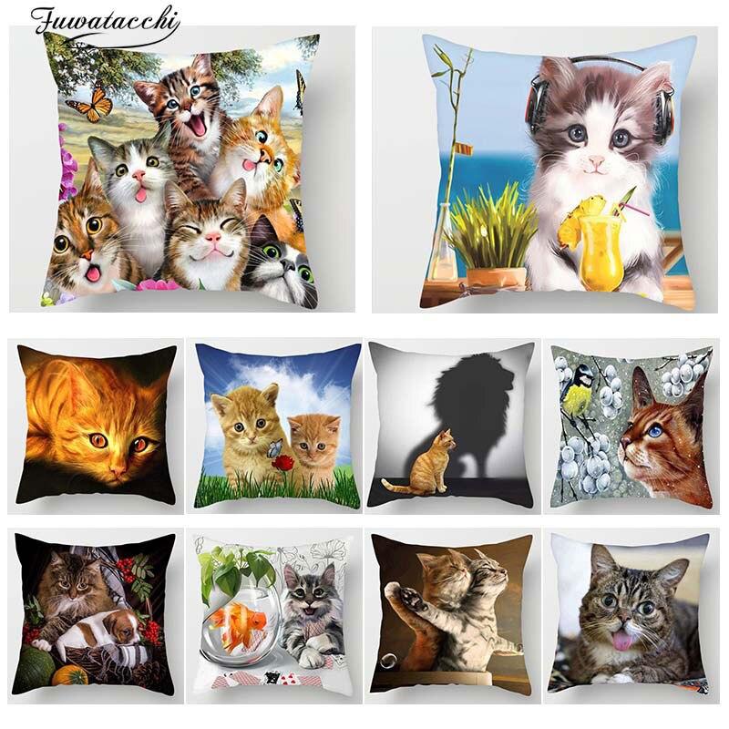 Fuwatacchi 3D chat belle chat imprimé décor housse de coussin Animal dessin animé chat taie d'oreiller canapé chaise décor à la maison coussins couverture