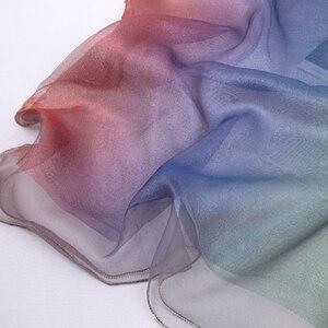 Image 5 - 2020 패션 여성 진짜 실크 스카프 더블 레이어 긴 라인 석 체인 숙녀와 Headscarf 랩 Pashmina Bandana Foulard