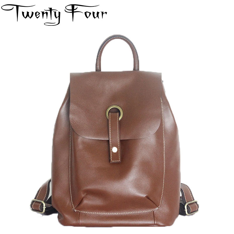 Twenty-four Genuine Leather Backpacks Ladies Casual Vintage Cowhide Travel Backpack Oil Wax Leather Hard Handle Girl Small Bags twenty four women backpacks genuine leather ladies travel backpack for teenagers girls bucket bag vintage real leather mochilas