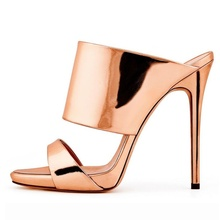 Fashion Summer Gold Mirror Leather Peep Toe Shoes Vintage High Thin Heels Sandals Casual Cut Outs  Mules Woman Big Size 42 original intention super sexy women sandals thigh high cut outs open toe thin heels sandals gold shoes woman plus us size 4 15