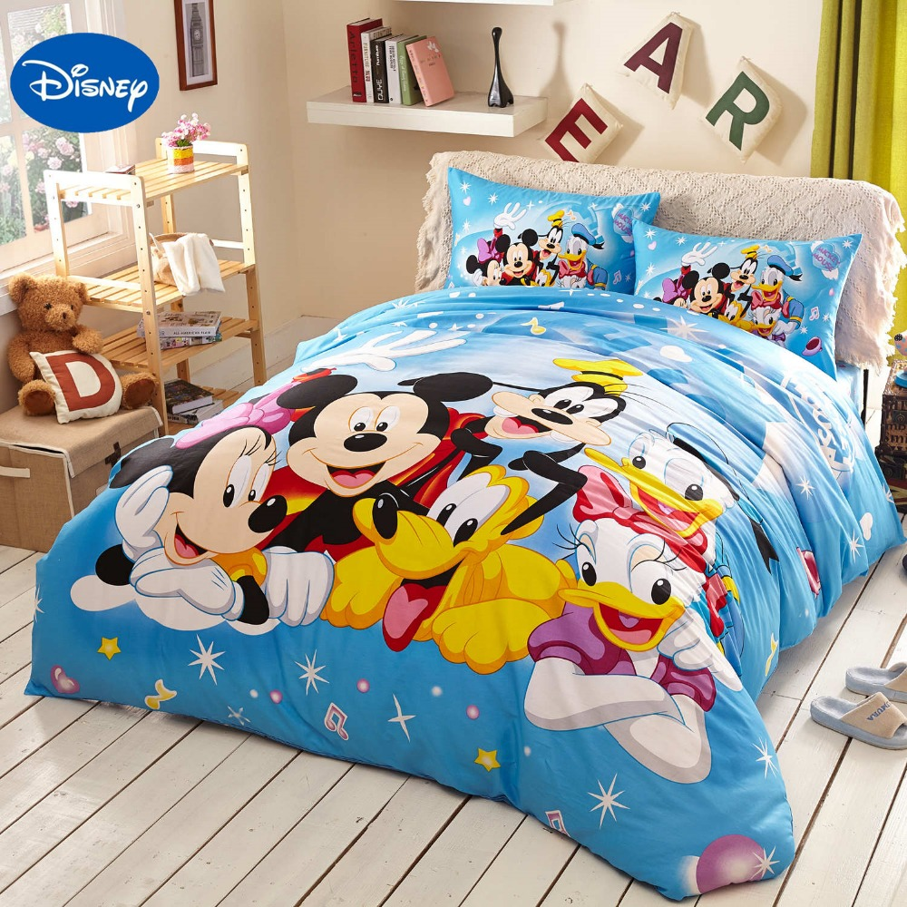 Blue Disney Cartoon Mickey Minnie Mouse Donald Duck Goofy Bedding Sets for Childrens Bedroom