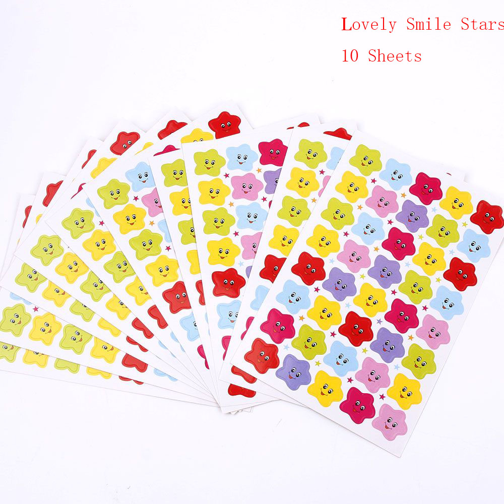 10 Sheets/set Kawaii Colorful Star Reward Smiley Face Stickers Funny Cute Emoji Stickers for Kids Notebook Stationery Gift 5 sheets cut sticker 48 emoji smile face stickers for notebook laptop message twitter large viny instagram